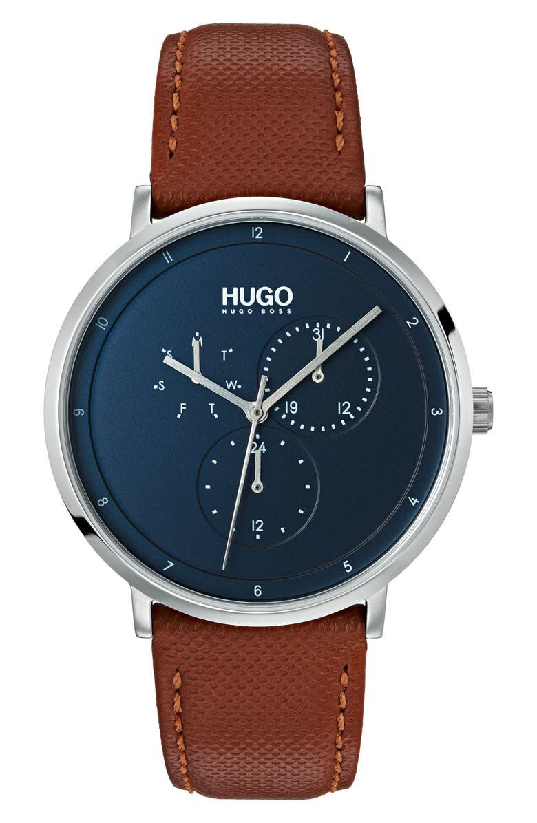 HUGO Ultra Slim Leather Strap Watch, 40mm, Main, color, BLUE