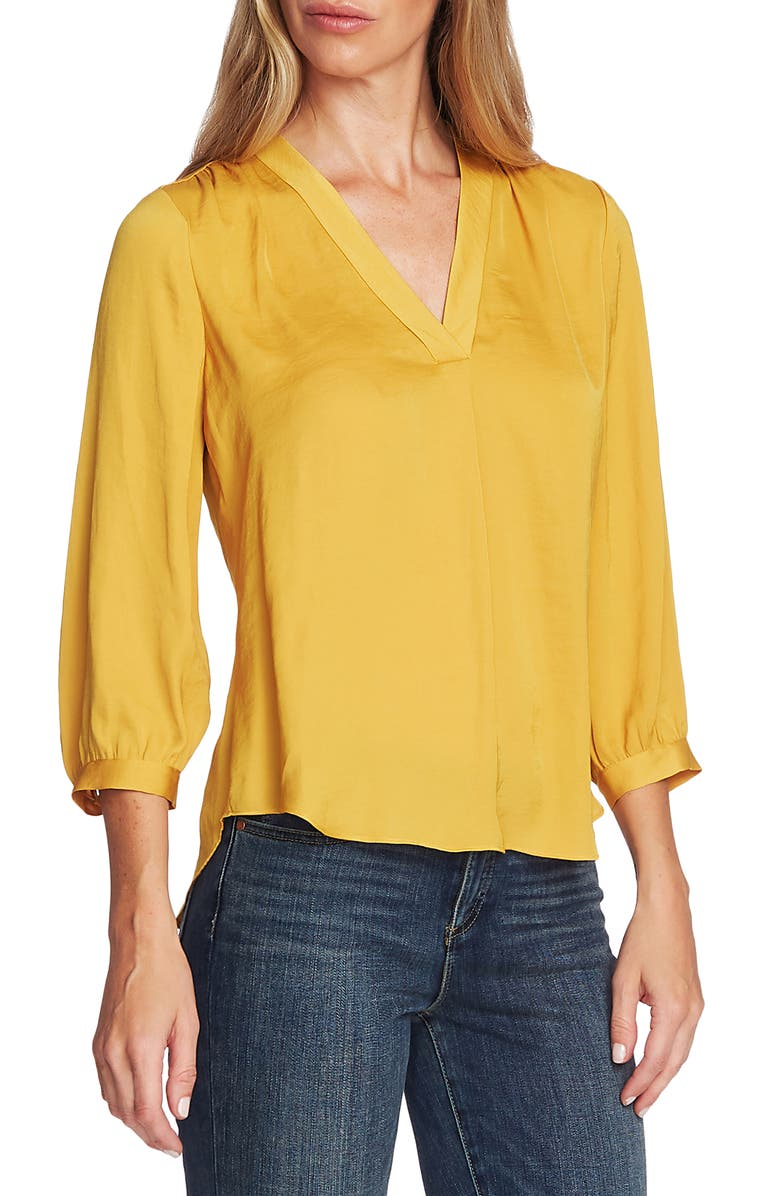 VINCE CAMUTO Rumple Fabric Blouse, Main, color, HONEY POT