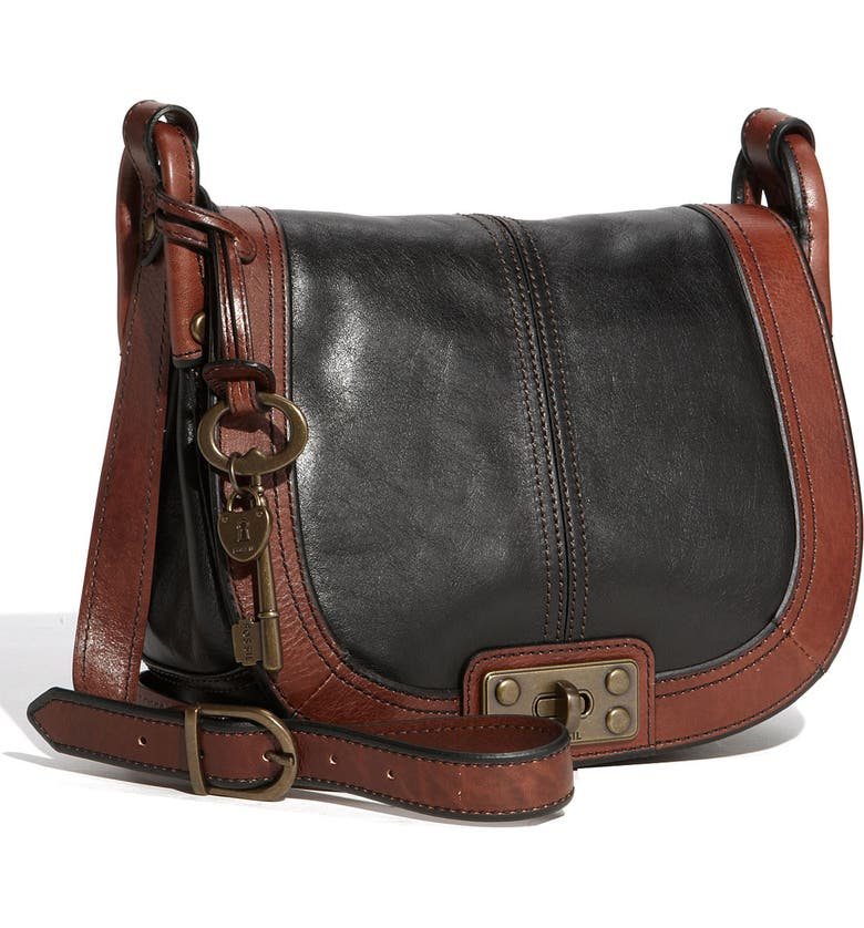 FOSSIL Leather Crossbody Bag, Main, color, 010