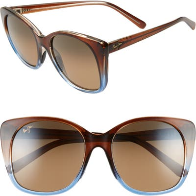 Maui Jim Mele 55Mm Polarizedplus2 Round Cat Eye Sunglasses - Translt Dk Choco Blue/hcl Brnz