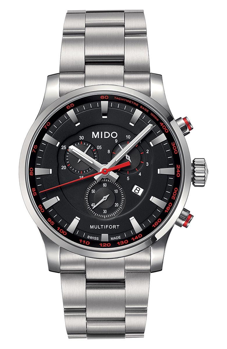 MIDO Multifort Chronograph Bracelet Watch, 42mm, Main, color, SILVER/ BLACK/ SILVER