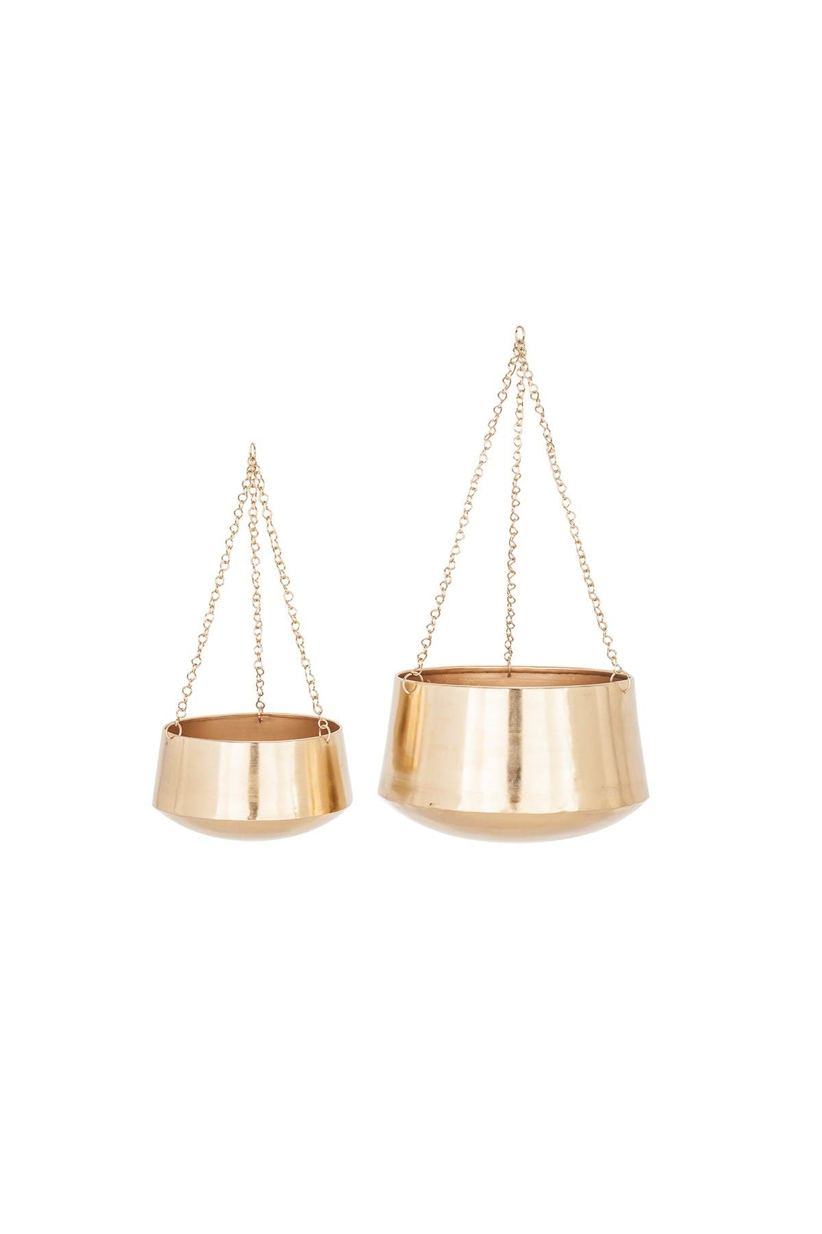 Image of Willow Row Small Modern Gold Hanging Planters - Set of 2