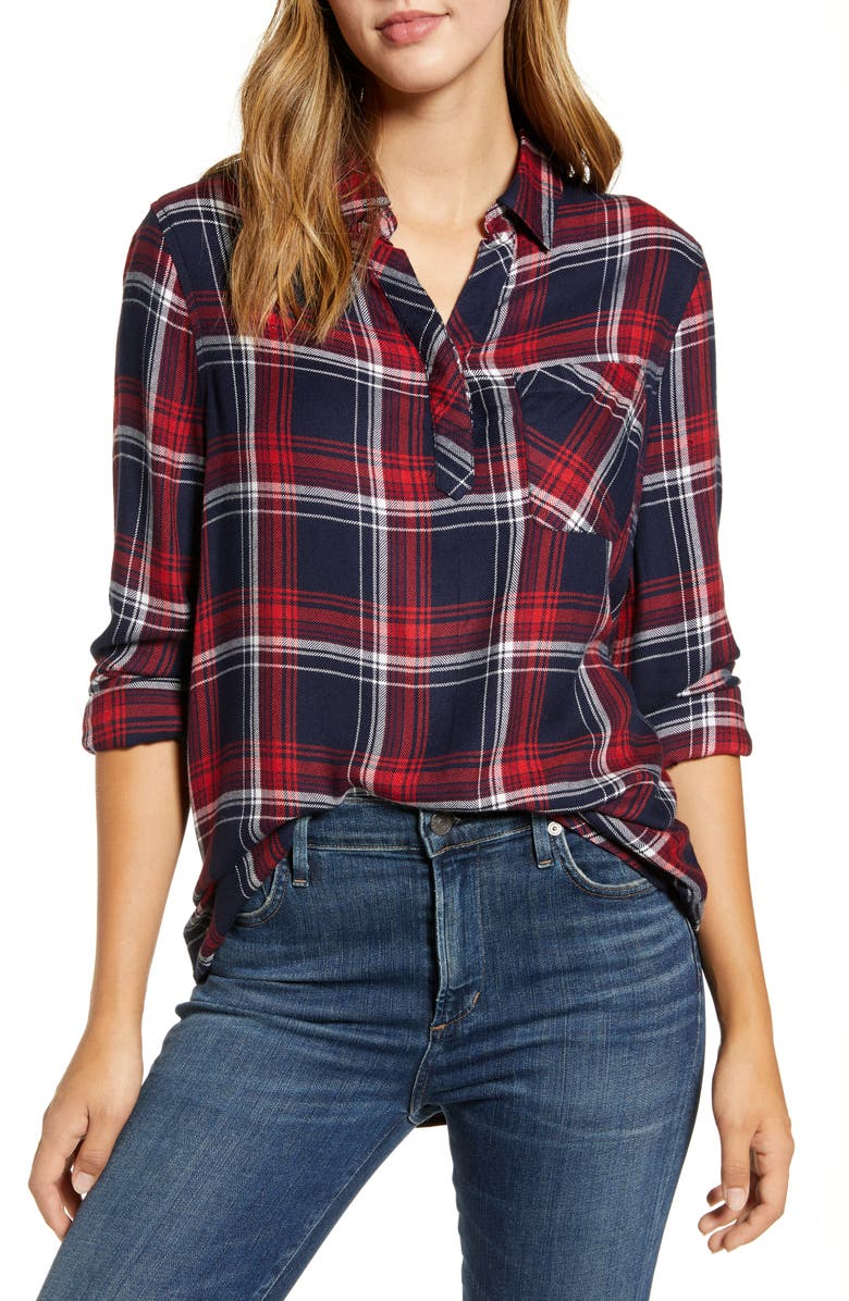 BEACHLUNCHLOUNGE Plaid Button-Up Shirt, Main, color, 001
