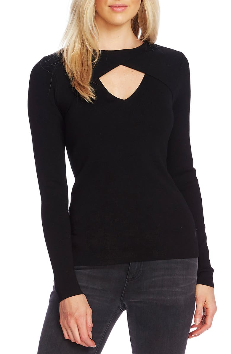 VINCE CAMUTO Front Cutout Detail Long Sleeve Sweater, Main, color, RICH BLACK