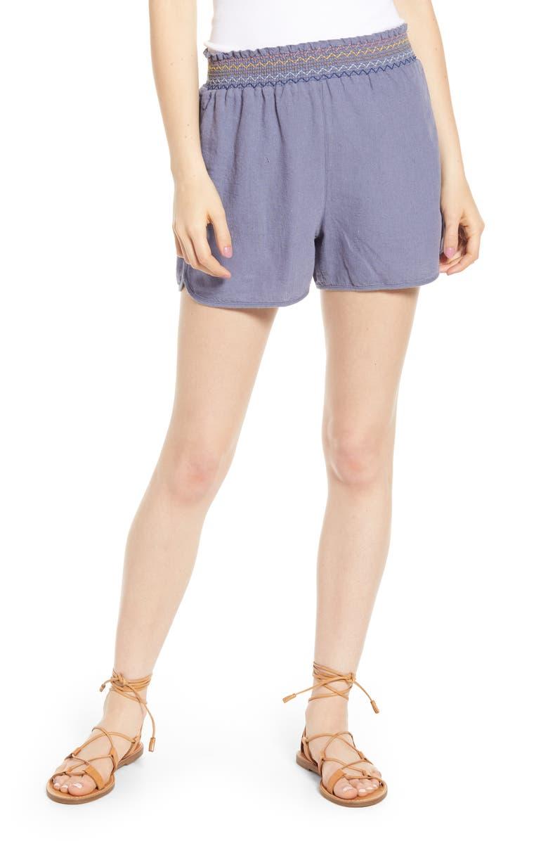MADEWELL Rainbow Smocked Pull-On Shorts, Main, color, 400