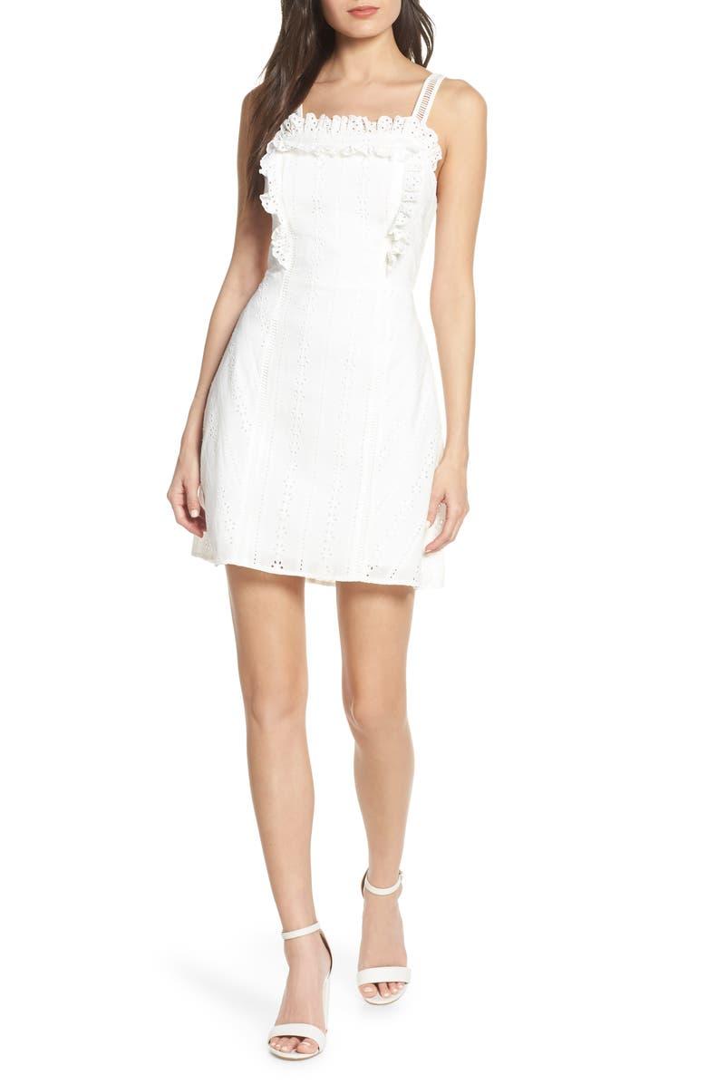 FINDERS KEEPERS Sundays Eyelet Minidress, Main, color, WHITE