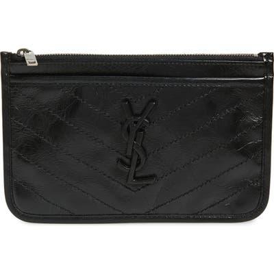 Saint Laurent Niki Quilted Leather Zip Pouch - Black