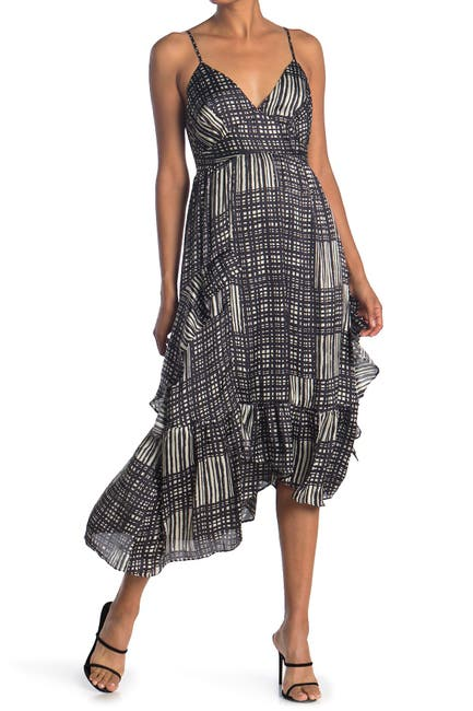 Image of 19 Cooper Printed Asymmetrical Hem Midi Dress