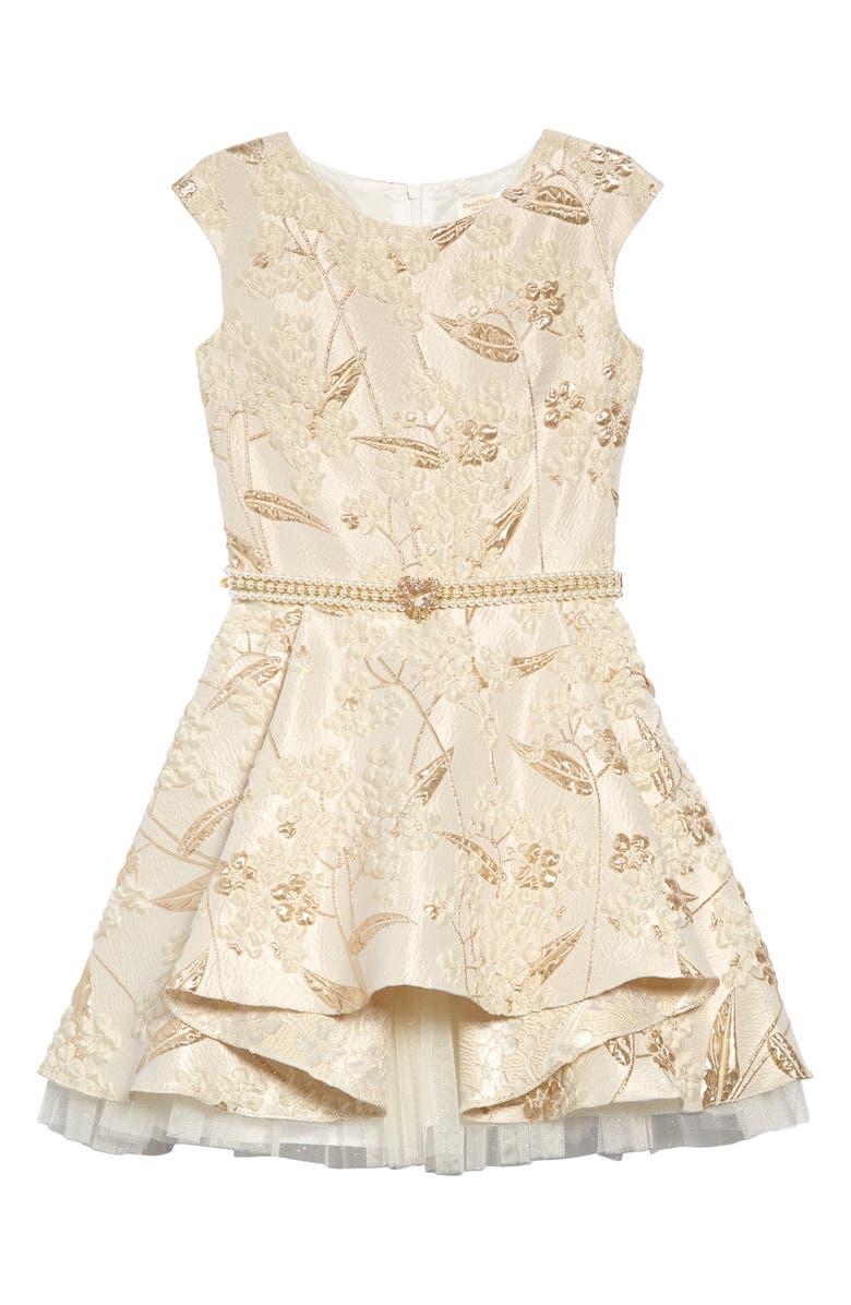 DAVID CHARLES Brocade & Imitation Pearl Belted Fit & Flare Dress, Main, color, 900