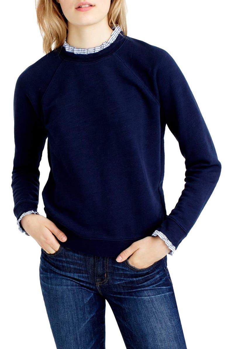 J.CREW Ruffle Trim Sweatshirt, Main, color, 400