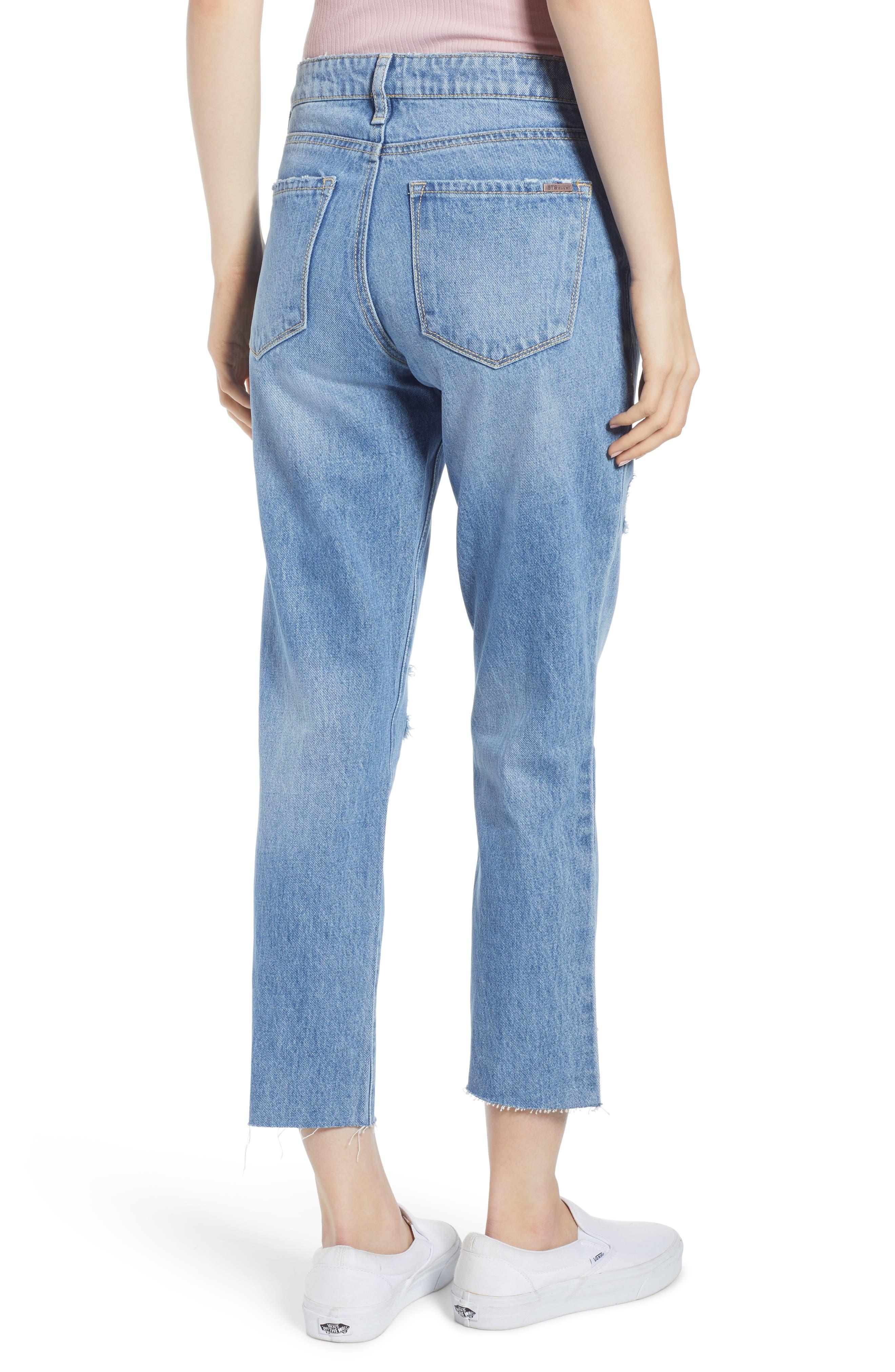 ,                             Cara Ripped Slim Straight Leg Jeans,                             Alternate thumbnail 2, color,                             400