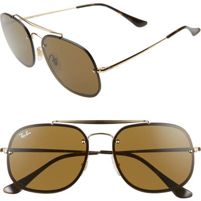 Ray-Ban Blaze General 5m Aviator Sunglasses - Black/ Gold/ Brown Solid