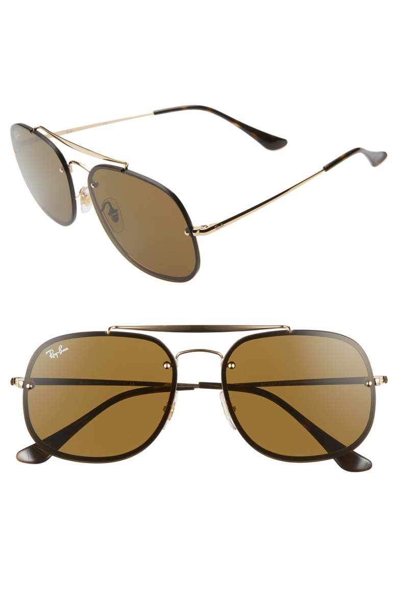 RAY-BAN Blaze General 58mm Aviator Sunglasses, Main, color, BLACK/ GOLD/ BROWN SOLID