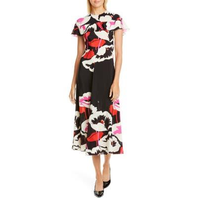 Red Valentino Floral Silk Midi Dress, US / 40 IT - Black