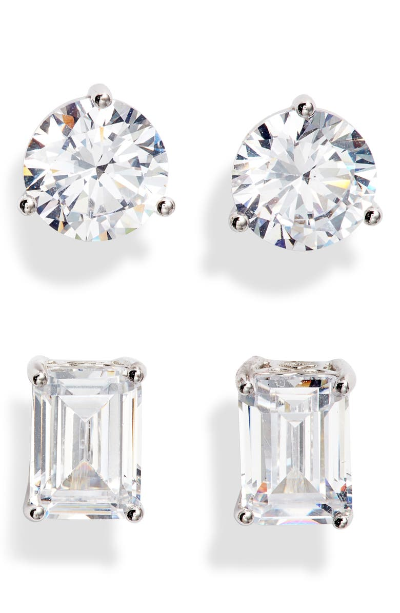 NORDSTROM 2-Pack 2ct tw Cubic Zirconia Stud Earrings, Main, color, CLEAR- SILVER