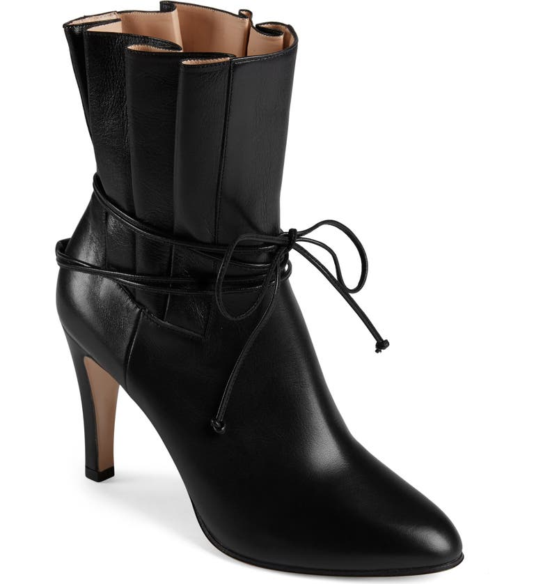 GUCCI Indya Pleated Bow Tie Bootie, Main, color, BLACK