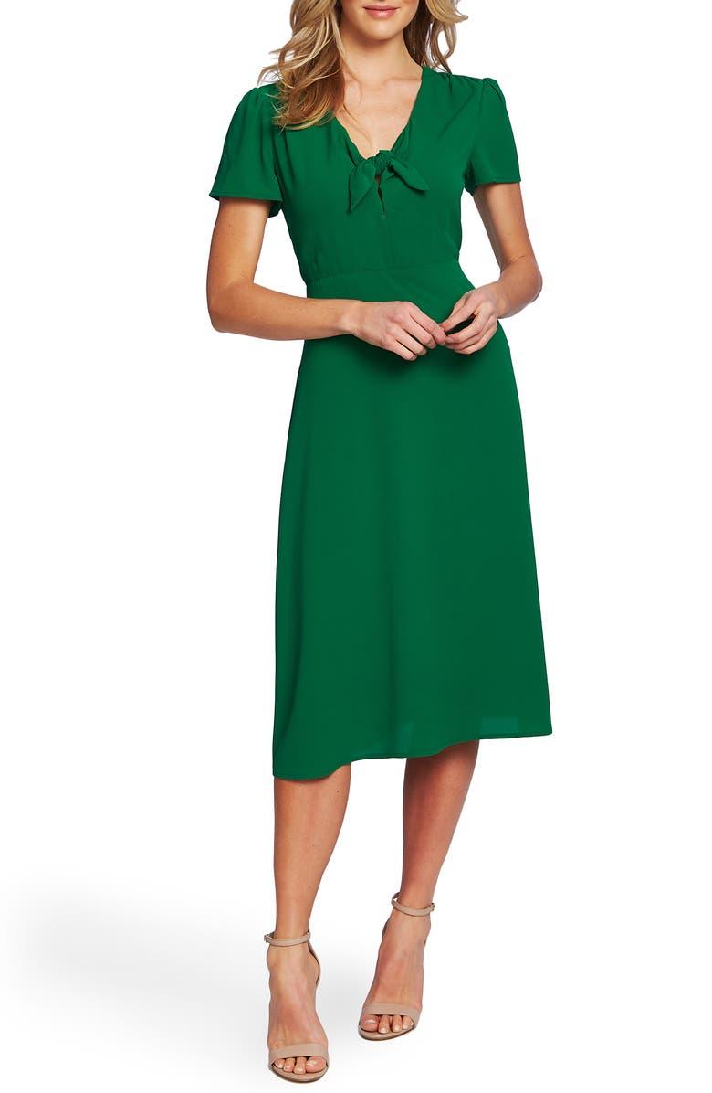 CECE Tie Front Midi Dress, Main, color, LUSH GREEN