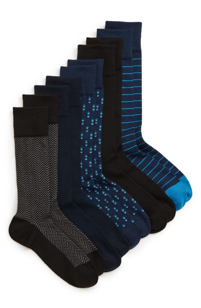 NORDSTROM MEN'S SHOP 5-Pack Socks, Main, color, BLACK/ NAVY/ BLUE