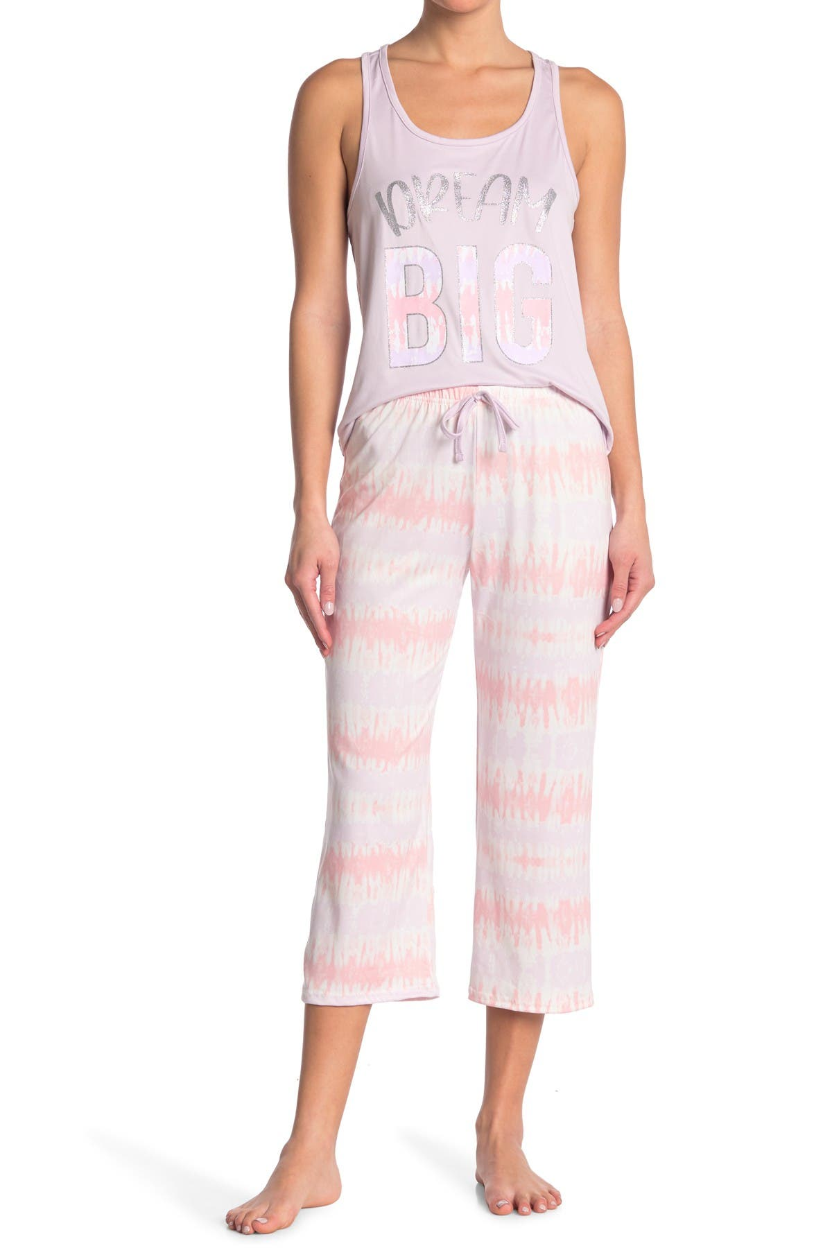 Image of FRENCH AFFAIR Dream Big Tie Dye Tank Top & Capri Pants Pajama 2-Piece Set