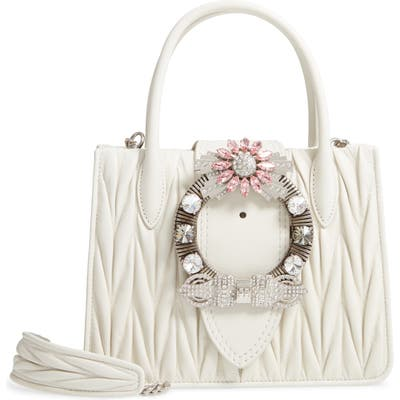 Miu Miu Matelasse Jeweled Lambskin Leather Top Handle Satchel -
