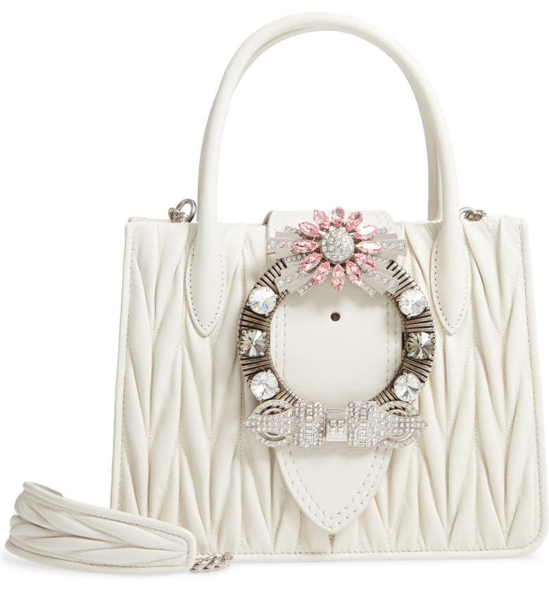 Miu Miu Matelass Jeweled Lambskin Leather Top Handle Satchel