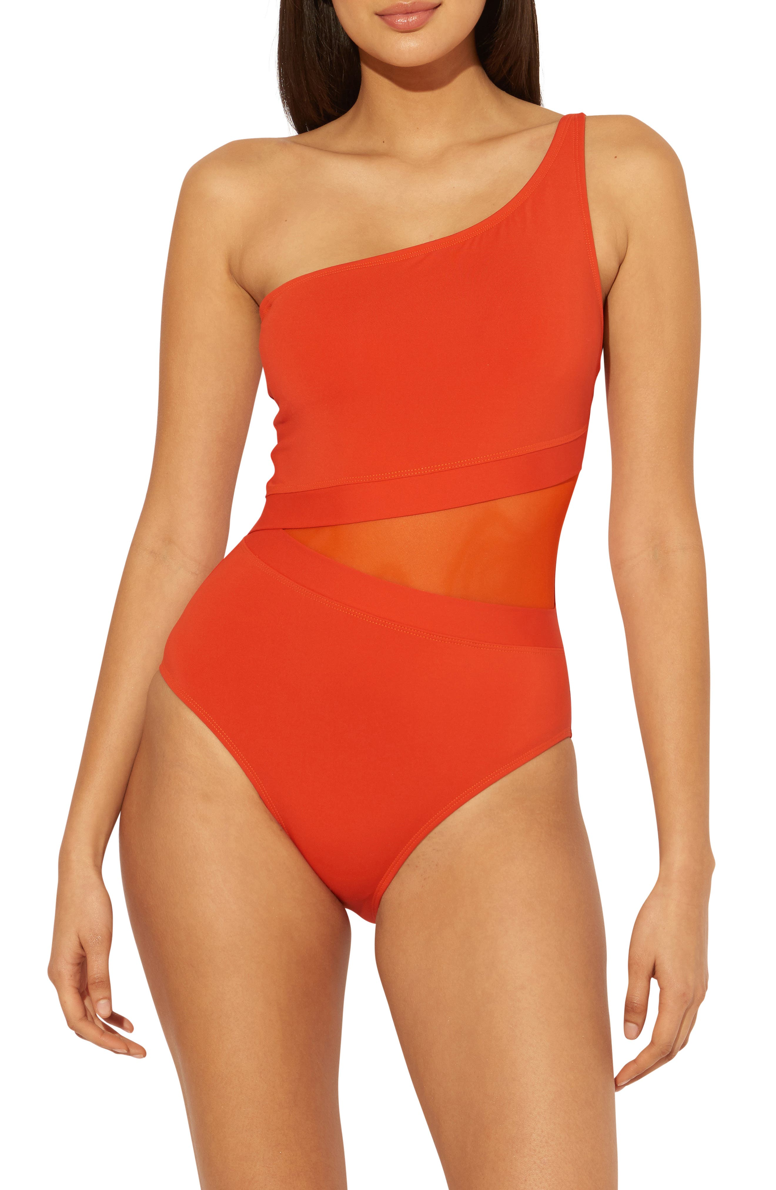 Don'T Mesh With Me One-Shoulder One-Piece Swimsuit
