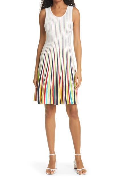 Milly Dresses GODET STRIPE SLEEVELESS FIT & FLARE DRESS