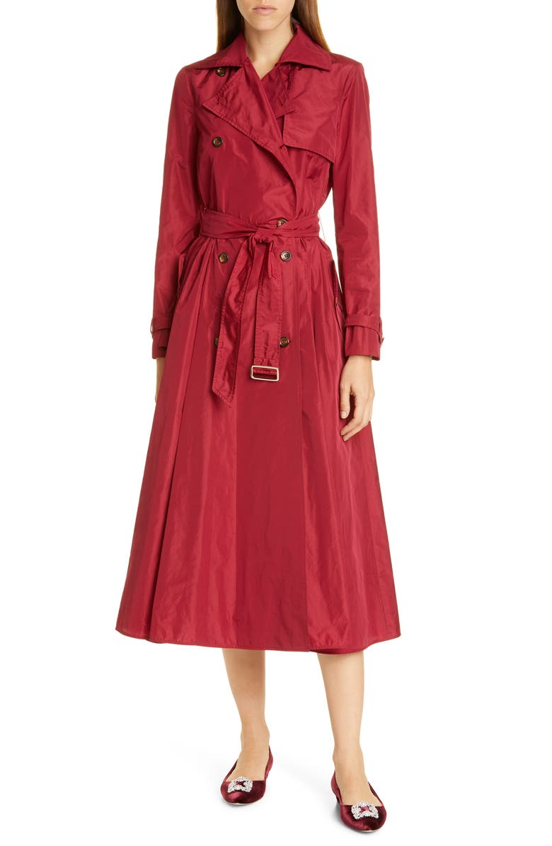 MAX MARA Balco Trench Dress, Main, color, RED