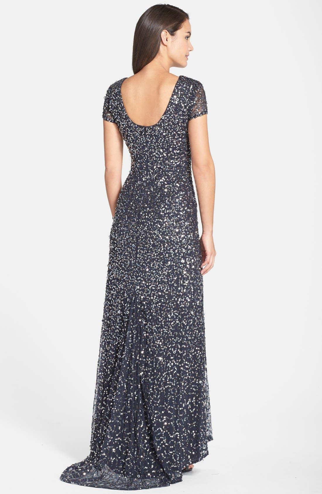 ,                             Short Sleeve Sequin Mesh Gown,                             Alternate thumbnail 40, color,                             020