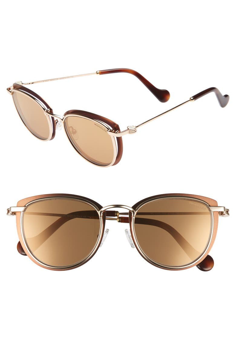 MONCLER 50mm Mirrored Geometric Sunglasses, Main, color, BRONZE/ ROSE GOLD/ HAVANA