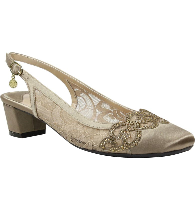 J. RENEÉ Faleece Crystal Embellished Slingback Pump, Main, color, BEIGE FABRIC