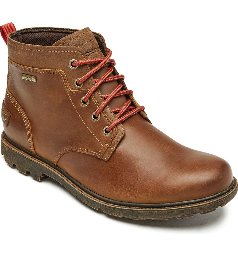 ROCKPORT Rugged Bucks II Waterproof Plain Toe Boot, Main, color, BISON LEATHER/ SUEDE