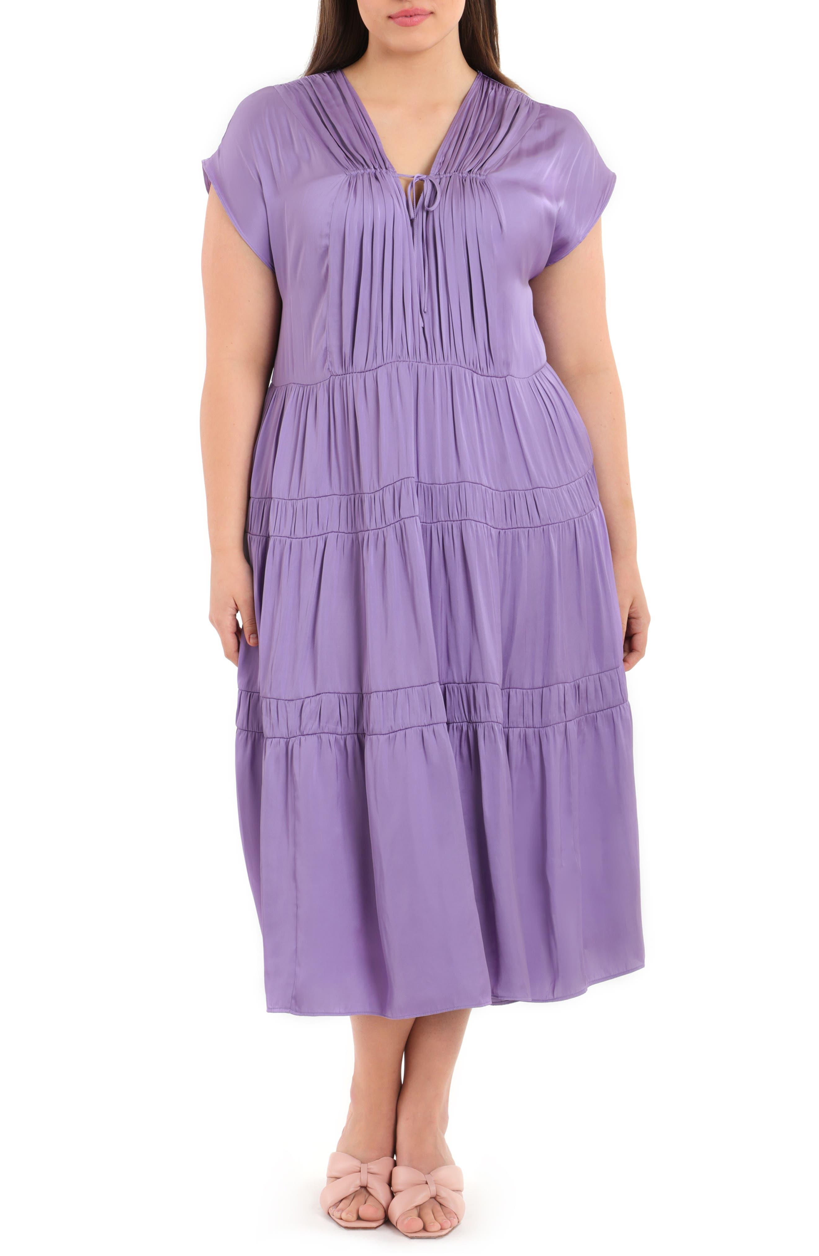 Tiered Brushed Satin Midi Dress