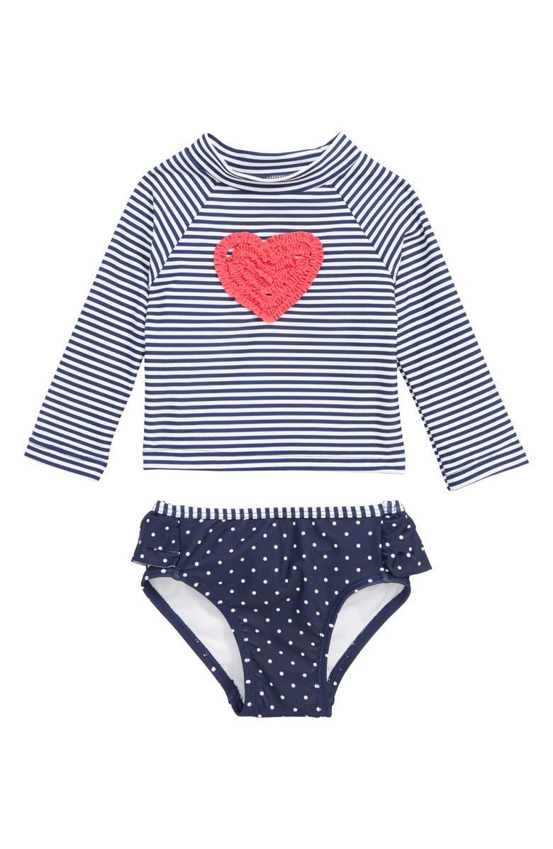 LITTLE ME Ruffle Heart Two-Piece Rashguard Swimsuit, Main, color, 415