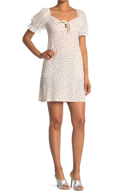 Image of Spirit of Grace Floral Sheer Puff Sleeve Mini Dress
