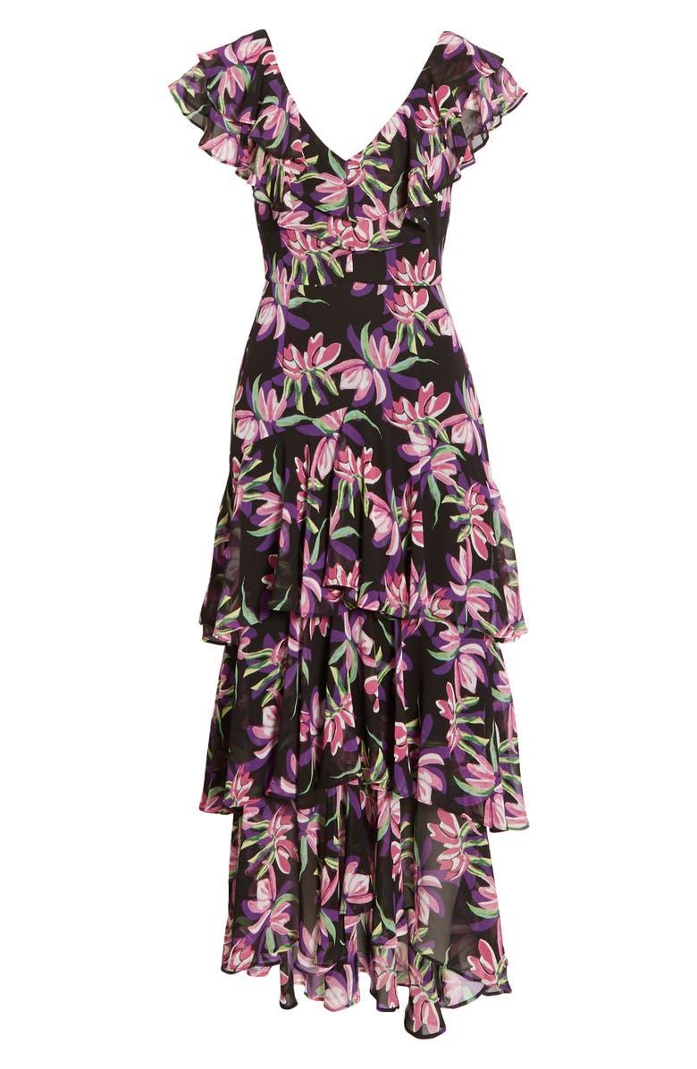 WAYF Chelsea Tiered Ruffle Maxi Dress, Main, color, BLACK BIRD OF PARADISE