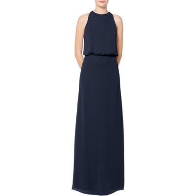 #levkoff Halter Neck Blouson Bodice Chiffon Evening Dress, Blue