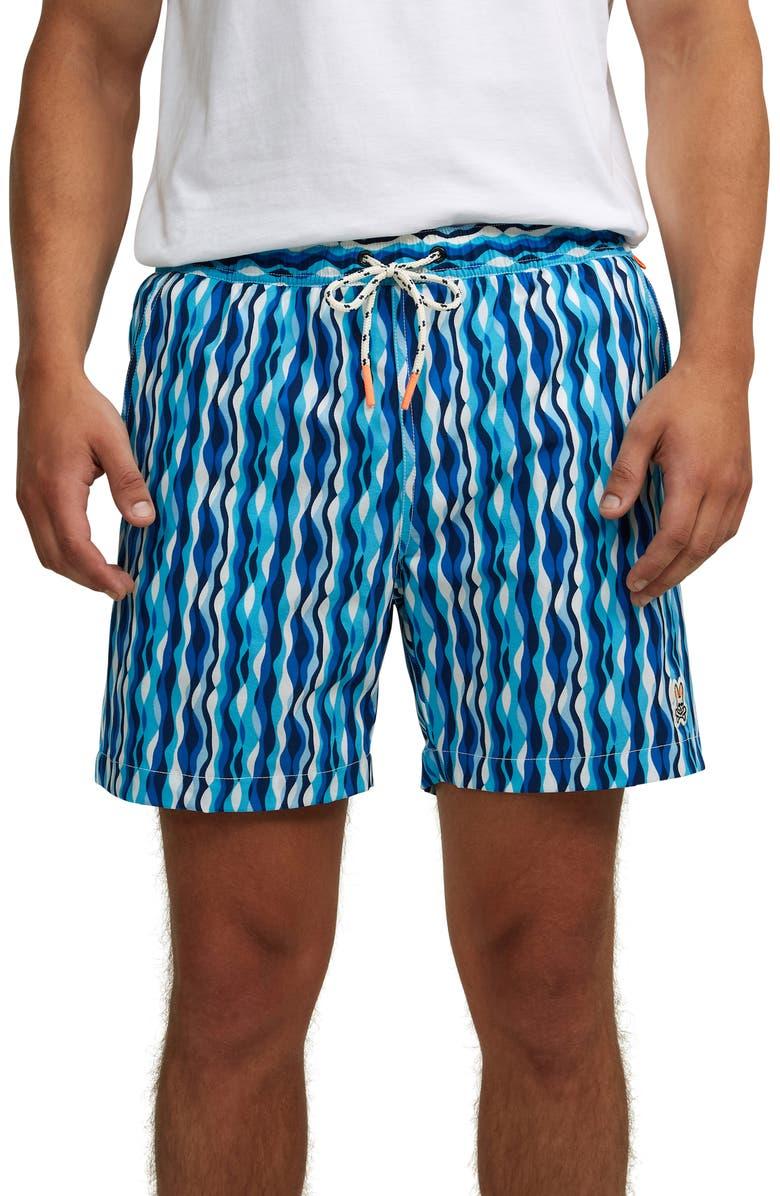 PSYCHO BUNNY Brighton Swim Trunks, Main, color, VELVET