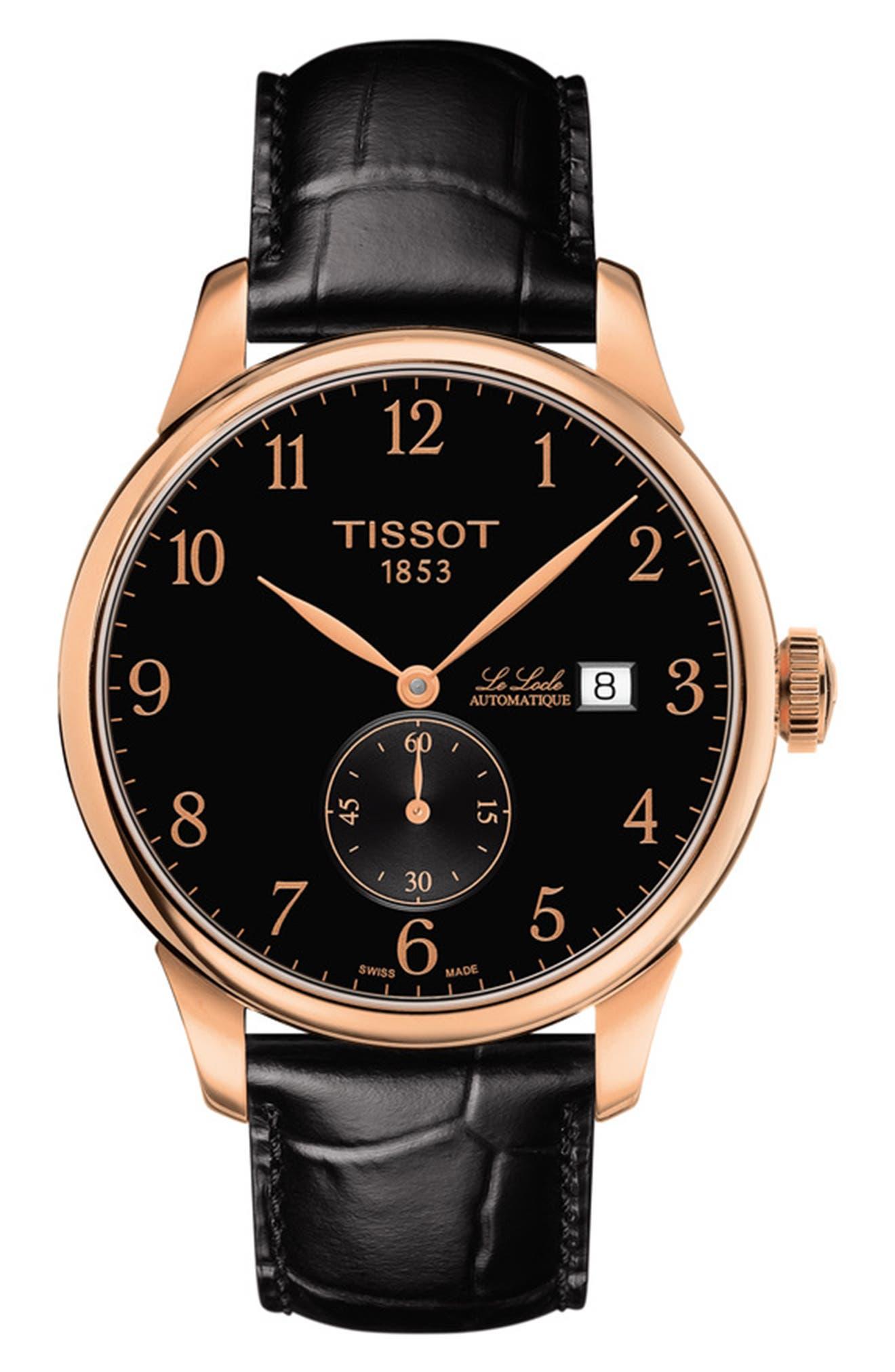 Tissot Men's Le Locle Automatique Petite Seconde Croc Embossed Leather Strap Watch In Black