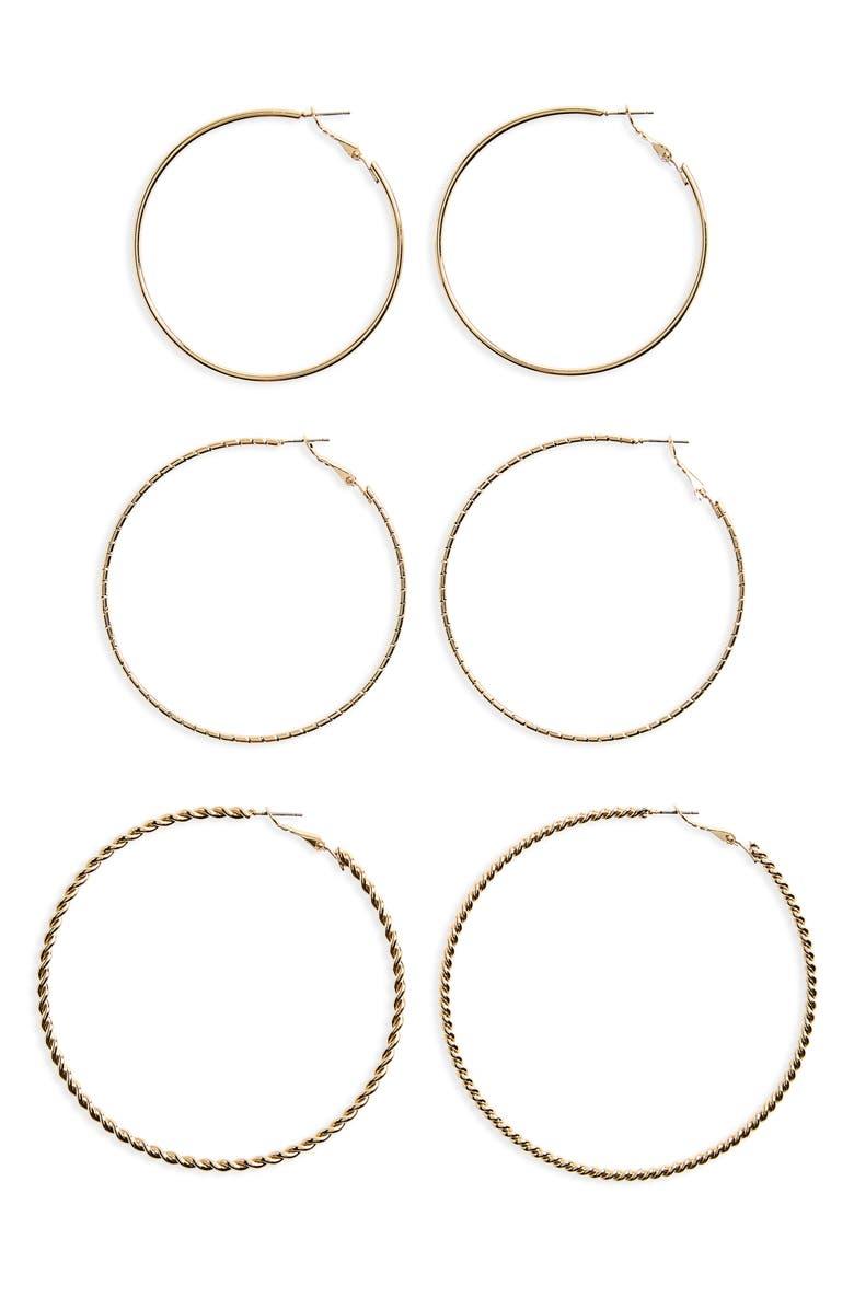 BP. 3-Pack Large Hoop Earrings, Main, color, 710