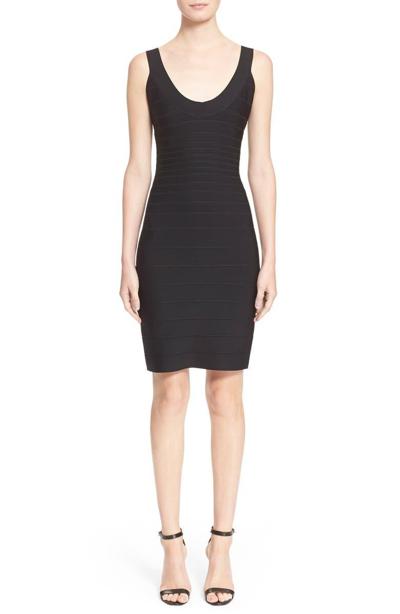 HERVE LEGER 'Sydney' U-Neck Bandage Dress, Main, color, 001