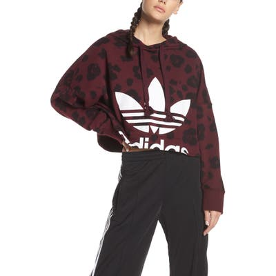 Adidas Originals Bellista Allover Print Crop Hoodie, Red