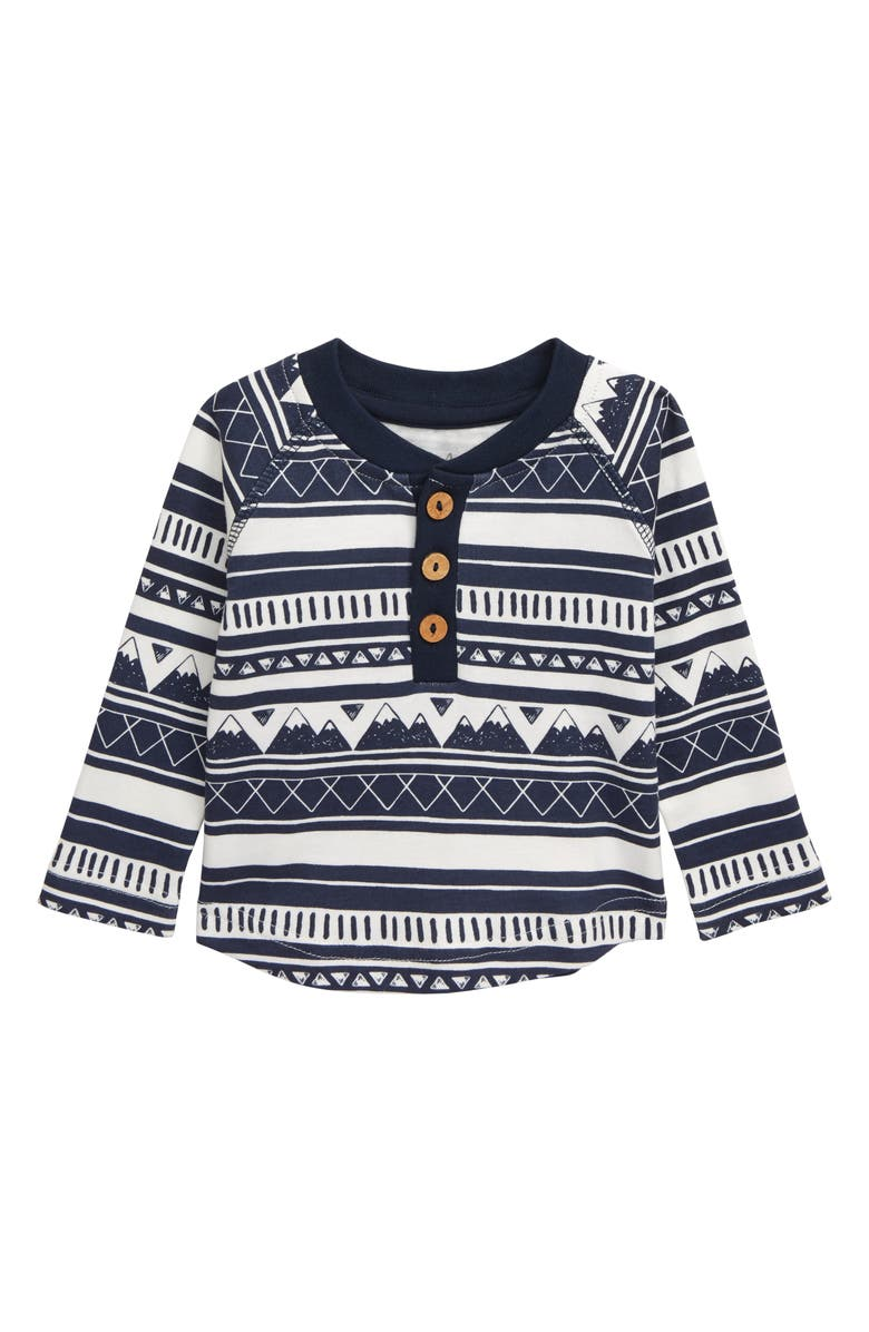 CITY MOUSE Mountain Stripe Organic Cotton Henley Shirt, Main, color, 400