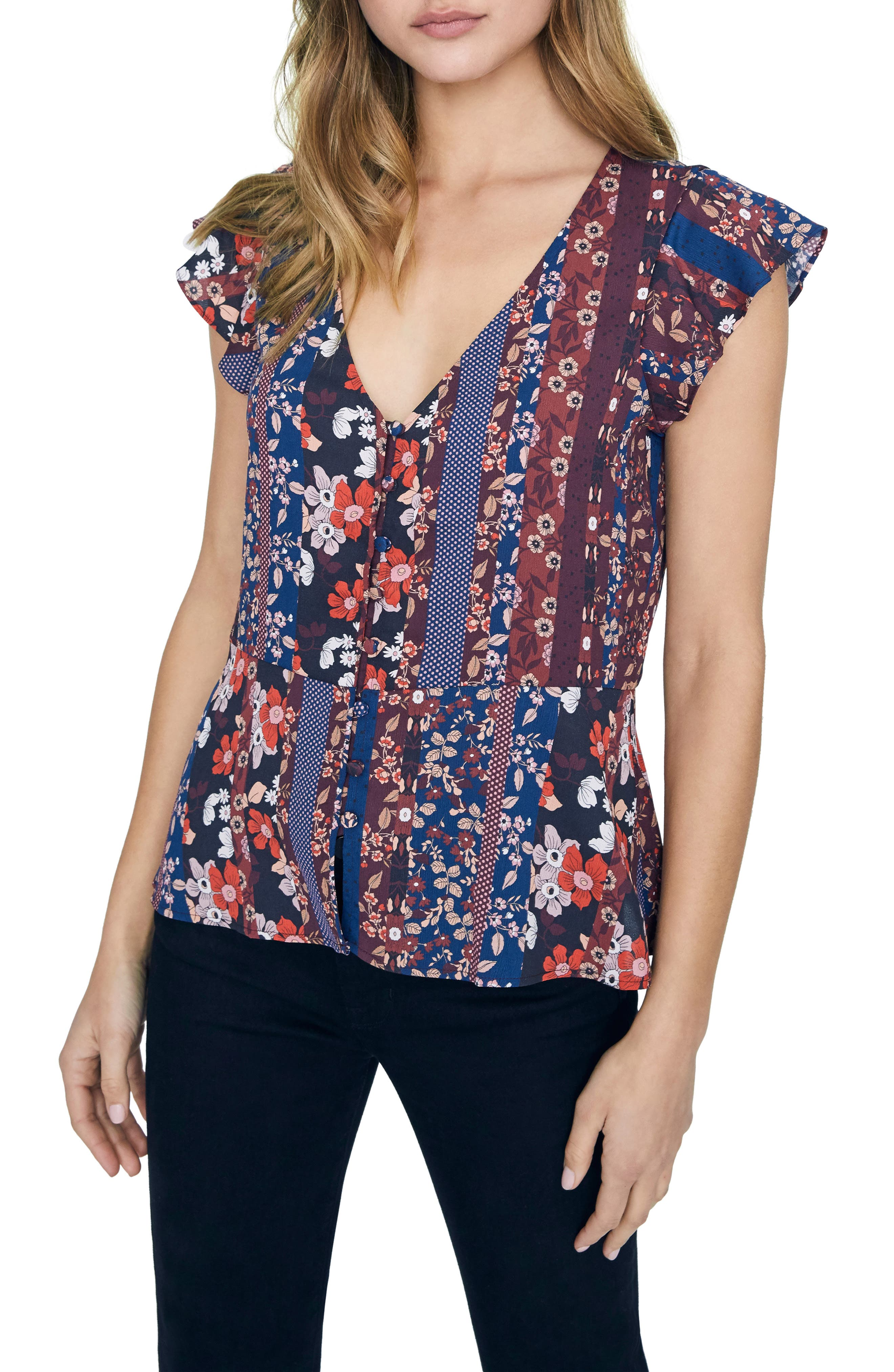 Image of Sanctuary Over the Moon Peplum Flutter Sleeve Blouse