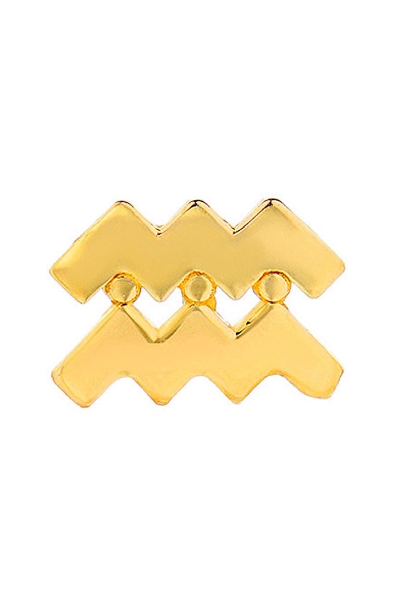 MINI MINI JEWELS Zodiac Earring, Main, color, YELLOW GOLD-AQUARIUS