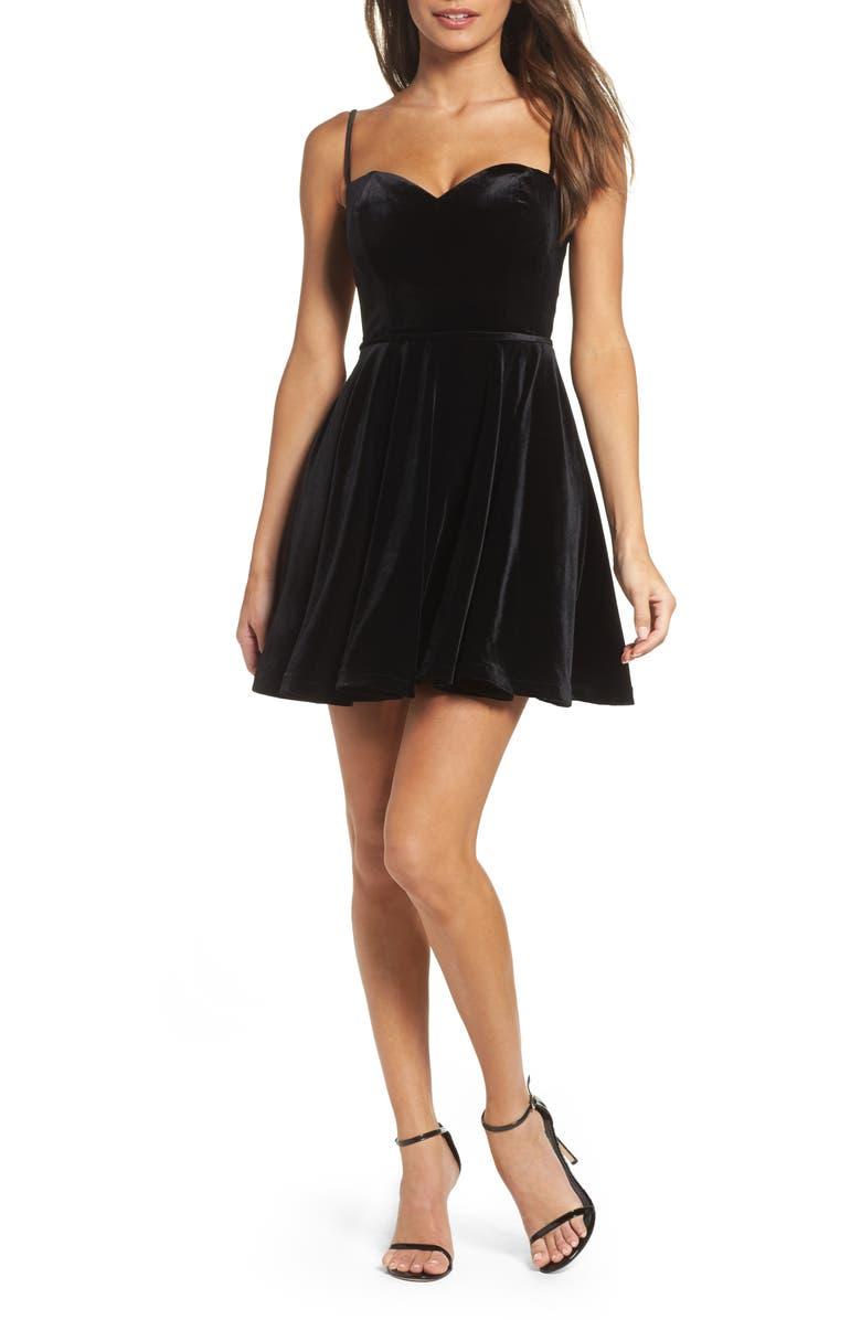 LA FEMME Strappy Back Velvet Skater Dress, Main, color, BLACK