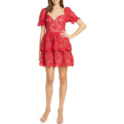 Self-Portrait Ruschia Floral Lace Puff Sleeve Minidress, Red