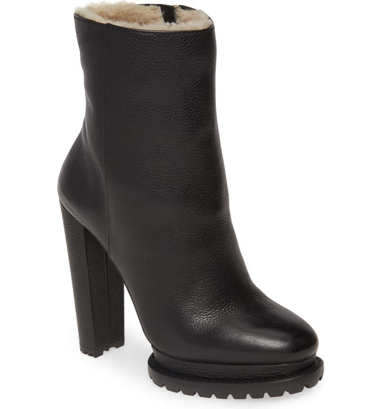 ALICE + OLIVIA Holden Genuine Shearling Bootie, Main, color, BLACK LEATHER
