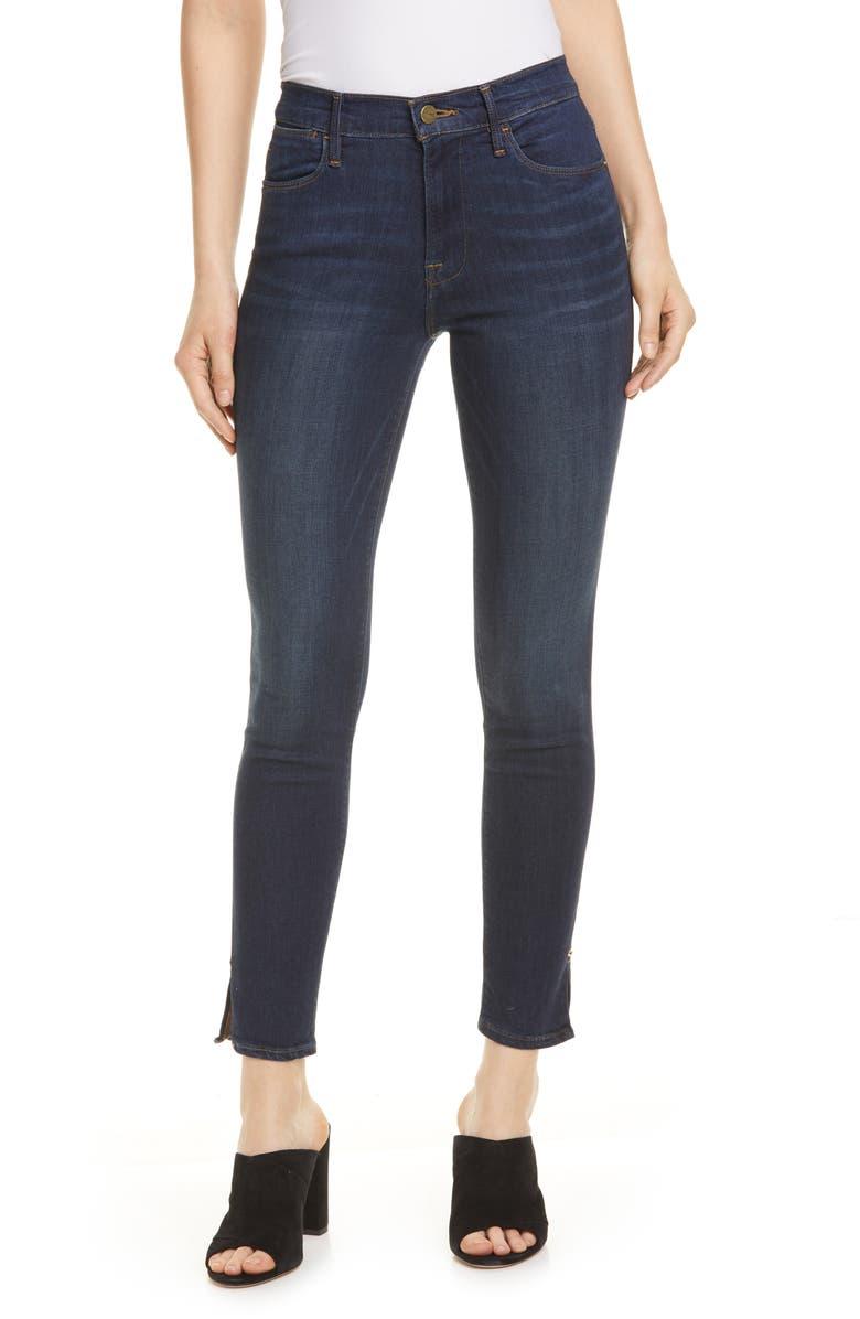 FRAME Le High Slit Hem Skinny Jeans, Main, color, WYTHE