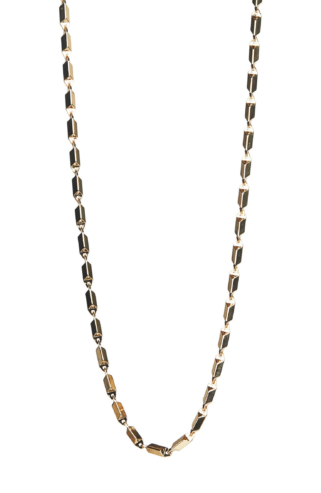 Image of Rebecca Minkoff Gold Plated Brass Textured Bar Chain Necklace